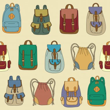 Seamless pattern with various backpacks