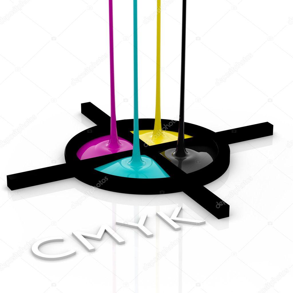 CMYK liquid inks and registration mark