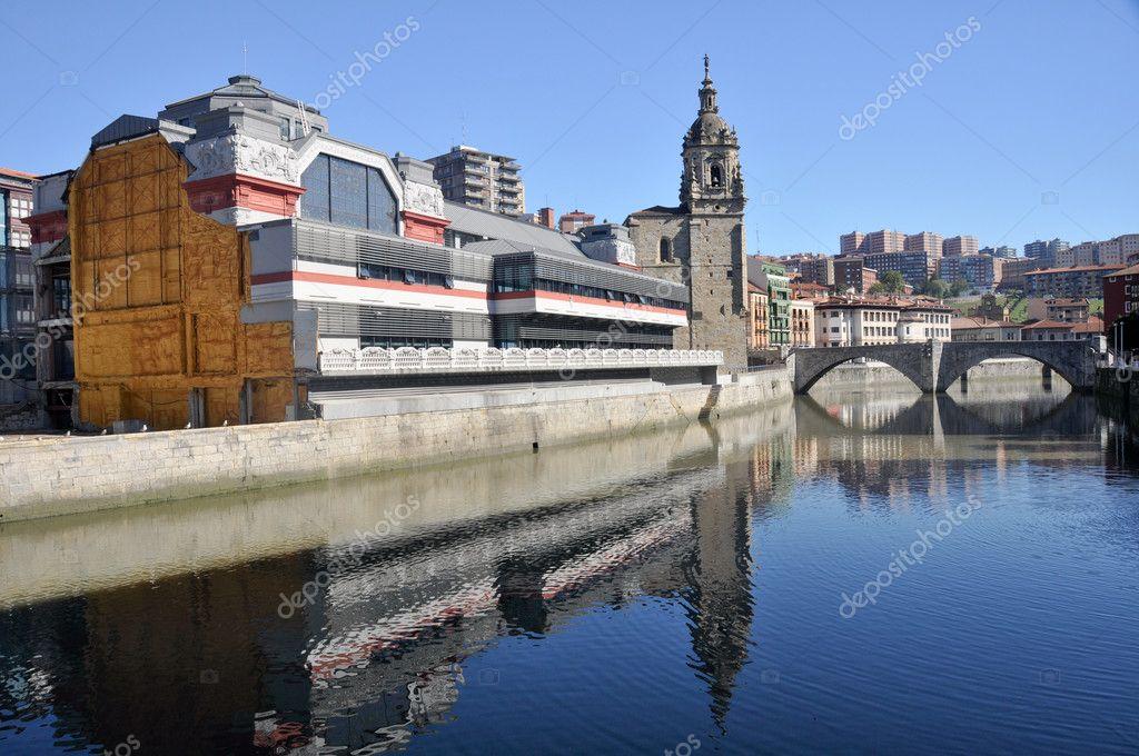 Bilbao - La Ribera market and San Anton bridge (Spain)