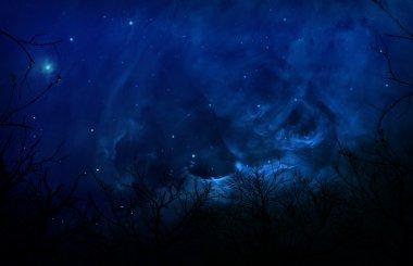 Eerie Silhouette Forest In Blue Night Sky