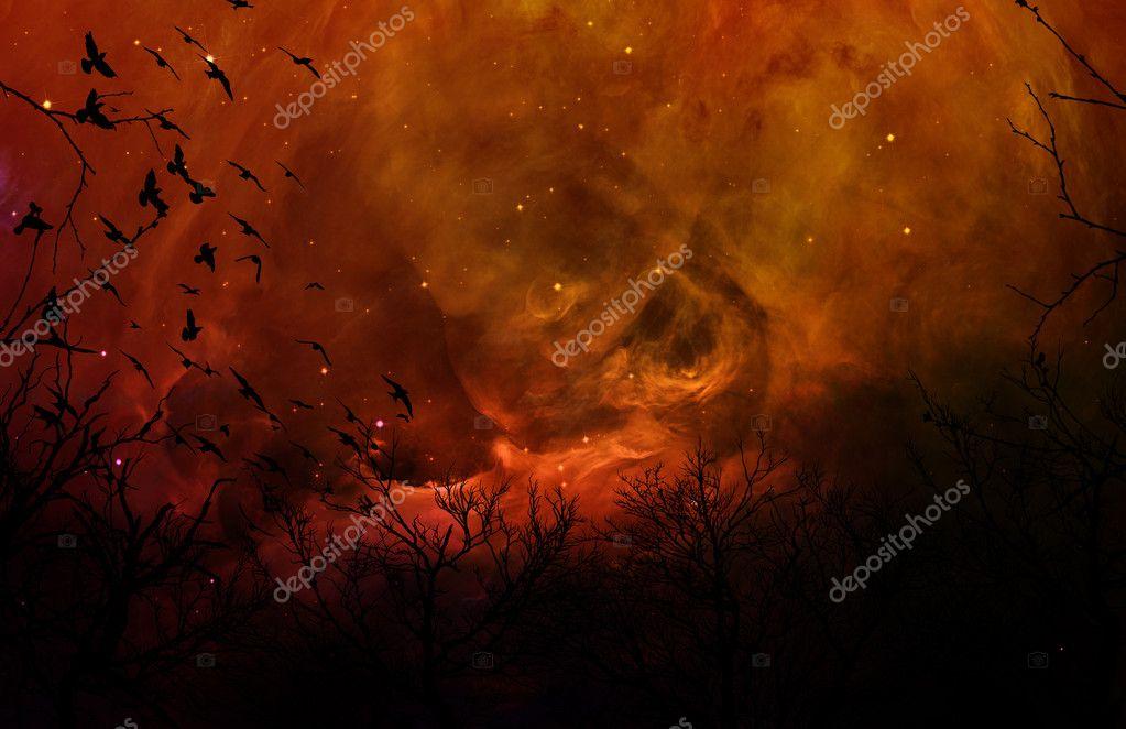 Eerie Silhouette Forest In Orange Night Sky
