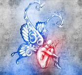 Skica o tetování, víla s křídly motýla