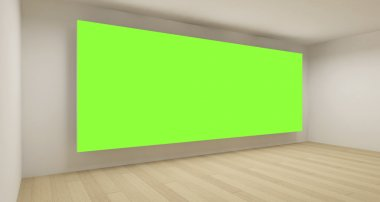 Empty medical room with green chroma key backdrop, 3d art concep