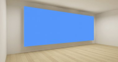 Empty space with blue chroma key backdrop, 3d art concept, clean