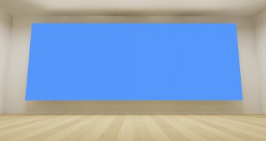 Empty room with blue chroma key backdrop, 3d art concept, clean