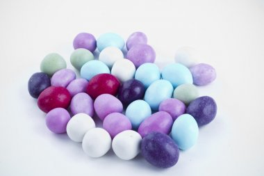 Many candy on white background. Candy colors