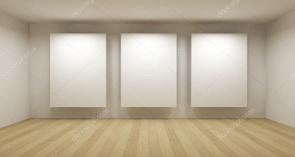 Empty Gallery, 3d Room U2014 Stock Photo