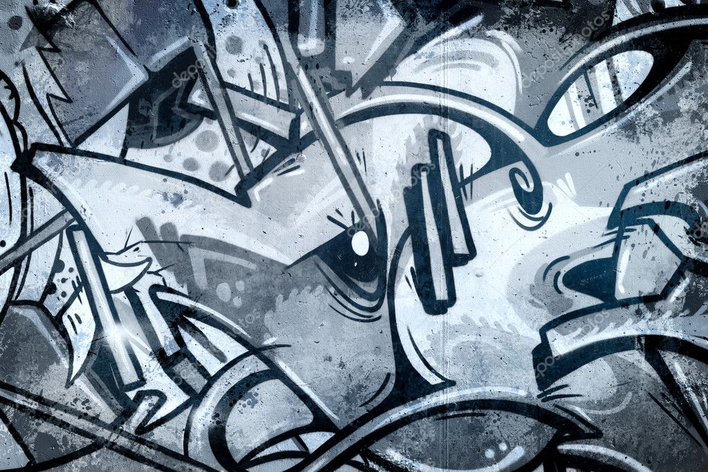 Cold Graffiti over old dirty wall, urban hip hop background Gray