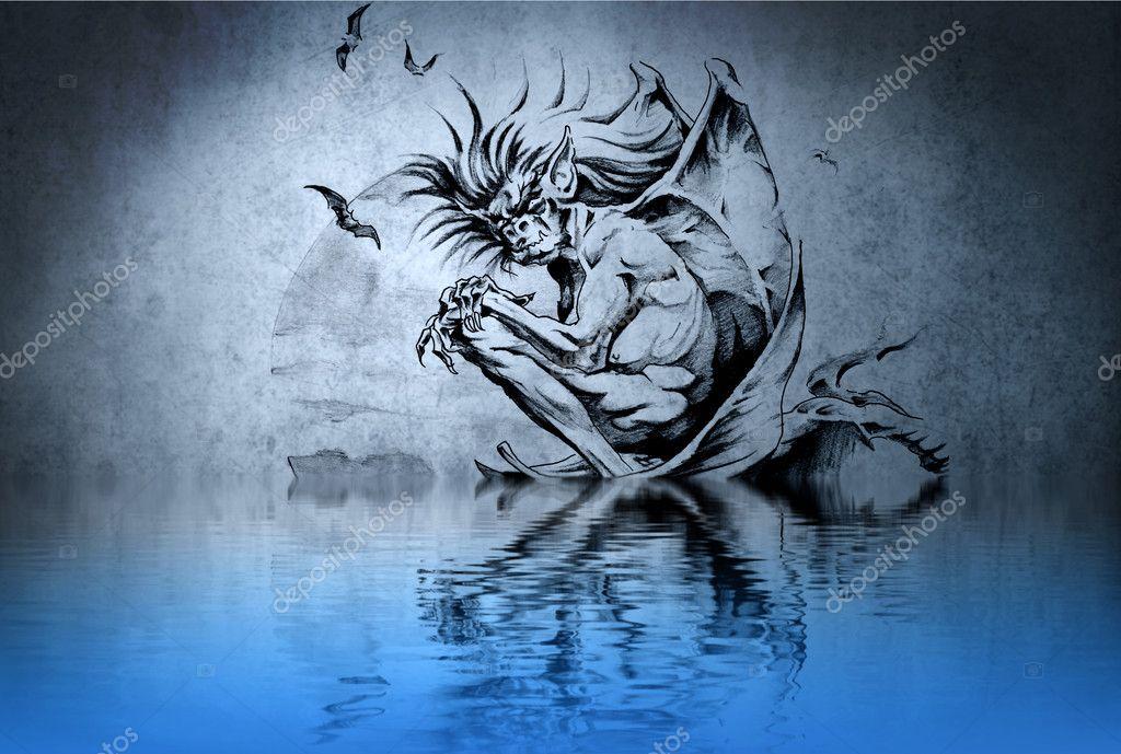 Tatouage De Zombie Sur Un Mur Bleu Avec Des Reflets De L Eau