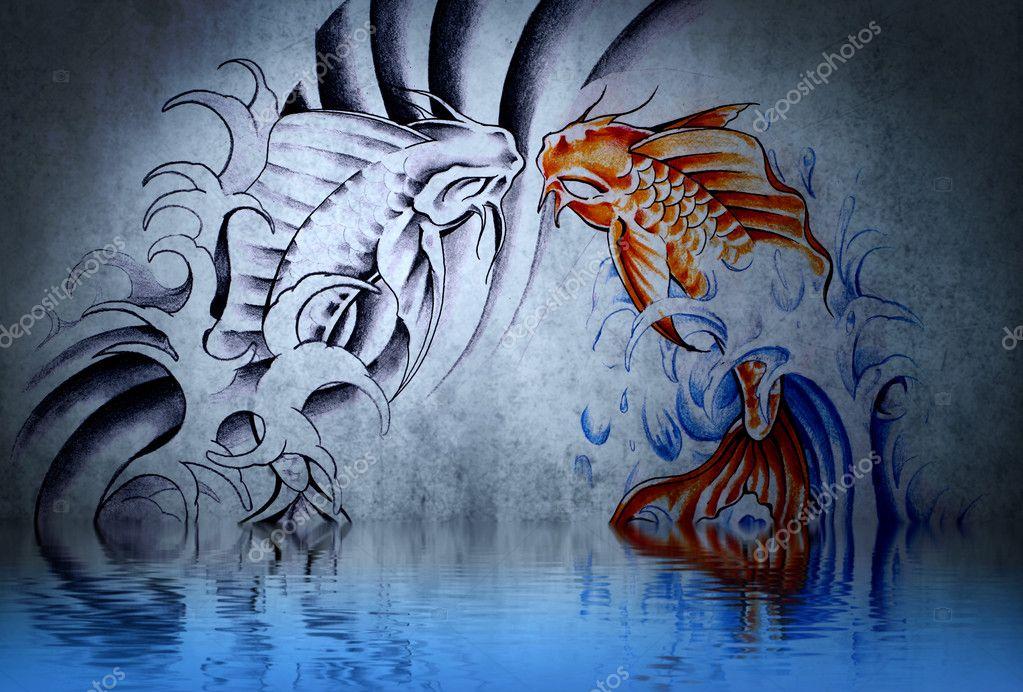 Tatouage De Carpe Japonaise Sur Un Mur Bleu Avec Des