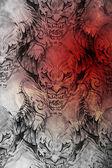 vzor tetování s démon vzory starožitný papír