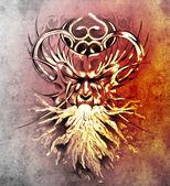 Skica o tetování, maska monstrum s bílým ohněm