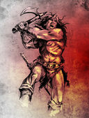 Photo Sketch of tattoo art, warrior fighting with big axe