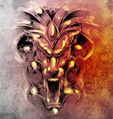 Photo Sketch of tattoo art, gargoyle devil mask