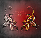 Kettősség koncepció tetoválás, két tündéri kék vintage háttér