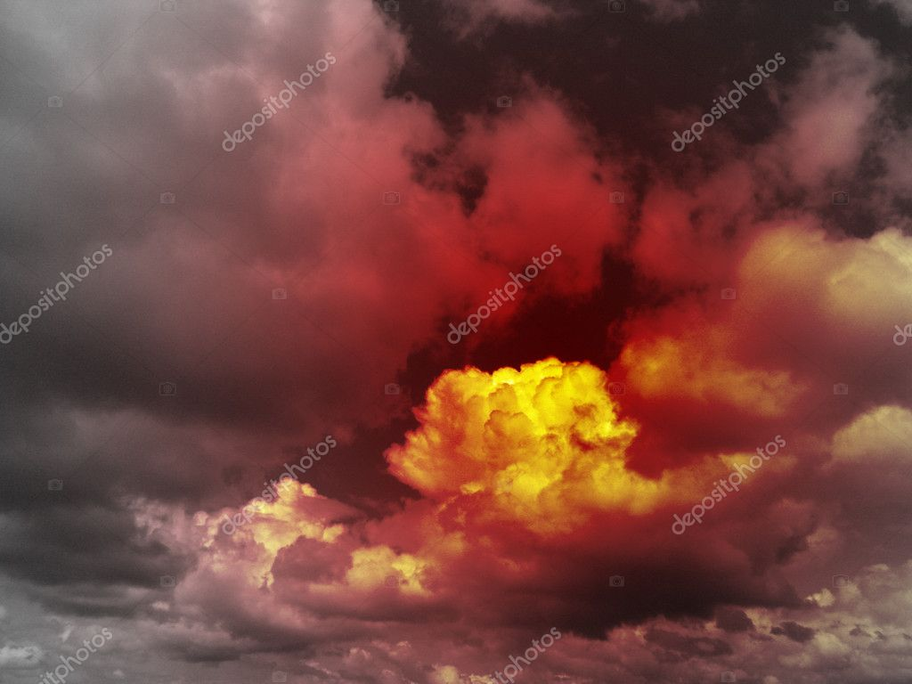 Red sky apocalyptic, end of the world concept, global warming