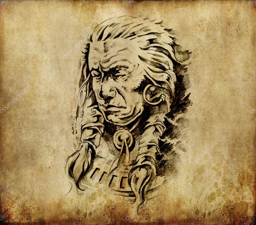 Art De Tatouage Esquisse D Une Tete D Indien D Amerique