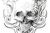 Fotografia arte del tatuaggio, schizzo di un teschio nero