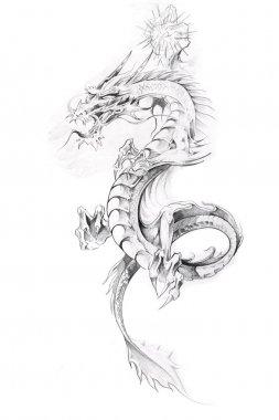 Tattoo art, sketch of a dragon