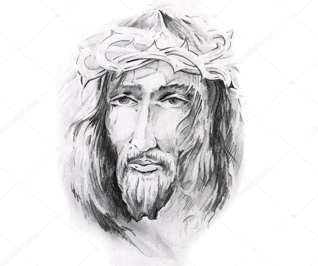 Muitas vezes esboço da arte da tatuagem, jesus Cristo — Fotografias de Stock  TP02