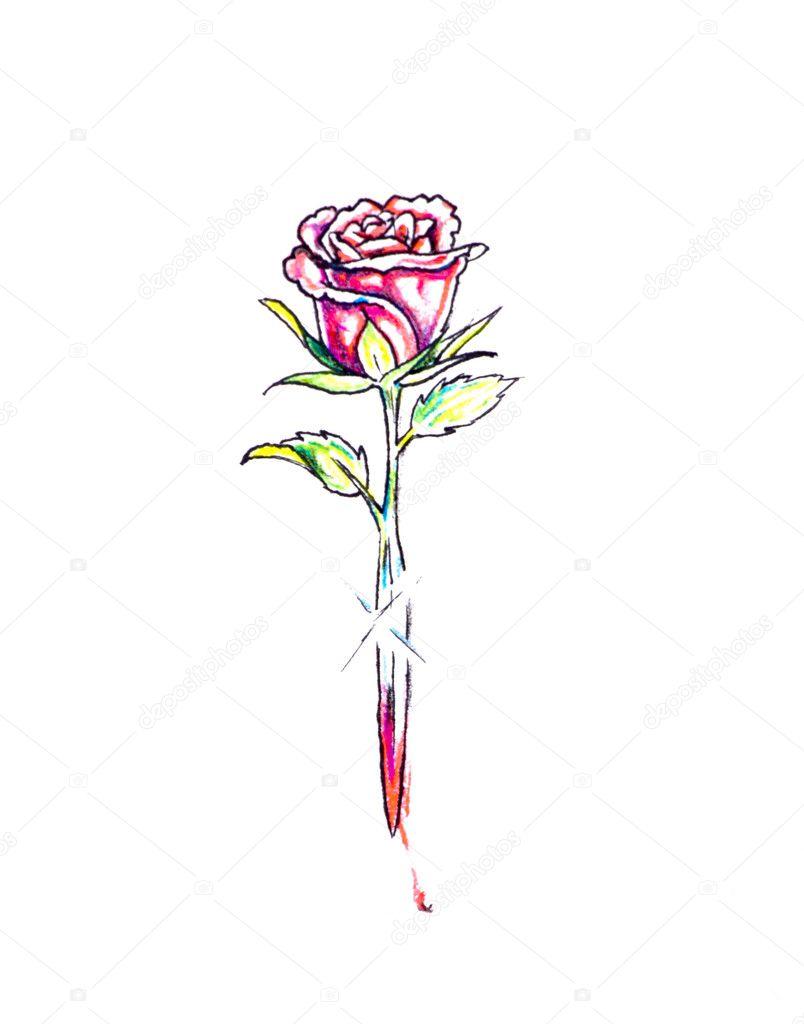 Szkic Sztuka Tatuaż Róża I Miecz Zdjęcie Stockowe