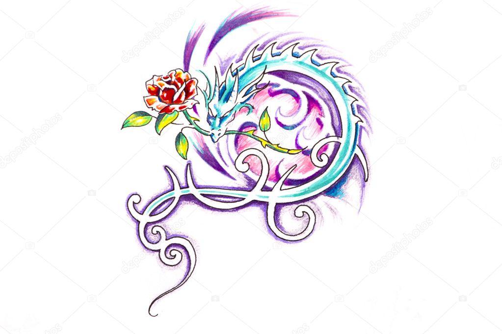 Szkic Sztuka Tatuaż Smok Z Różą Zdjęcie Stockowe