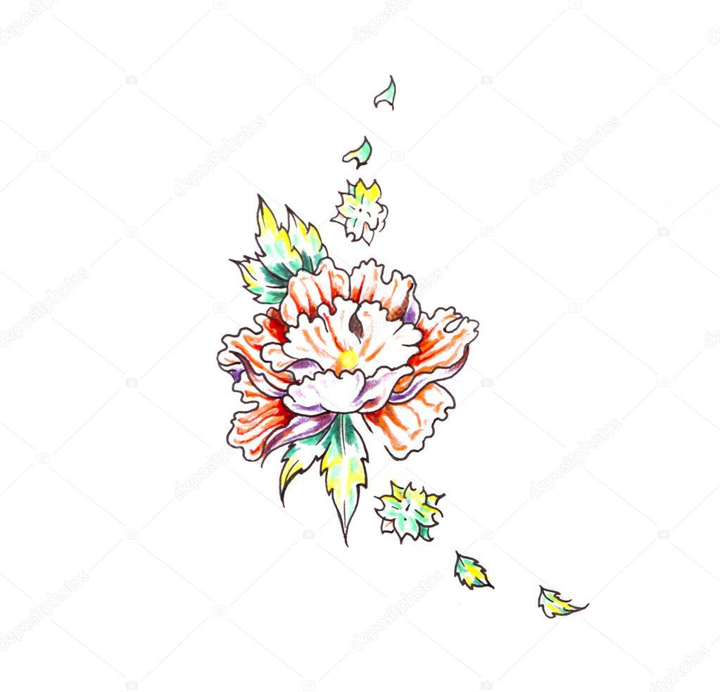 Szkic Sztuka Tatuaż Róża I Plemiennych Form Zdjęcie