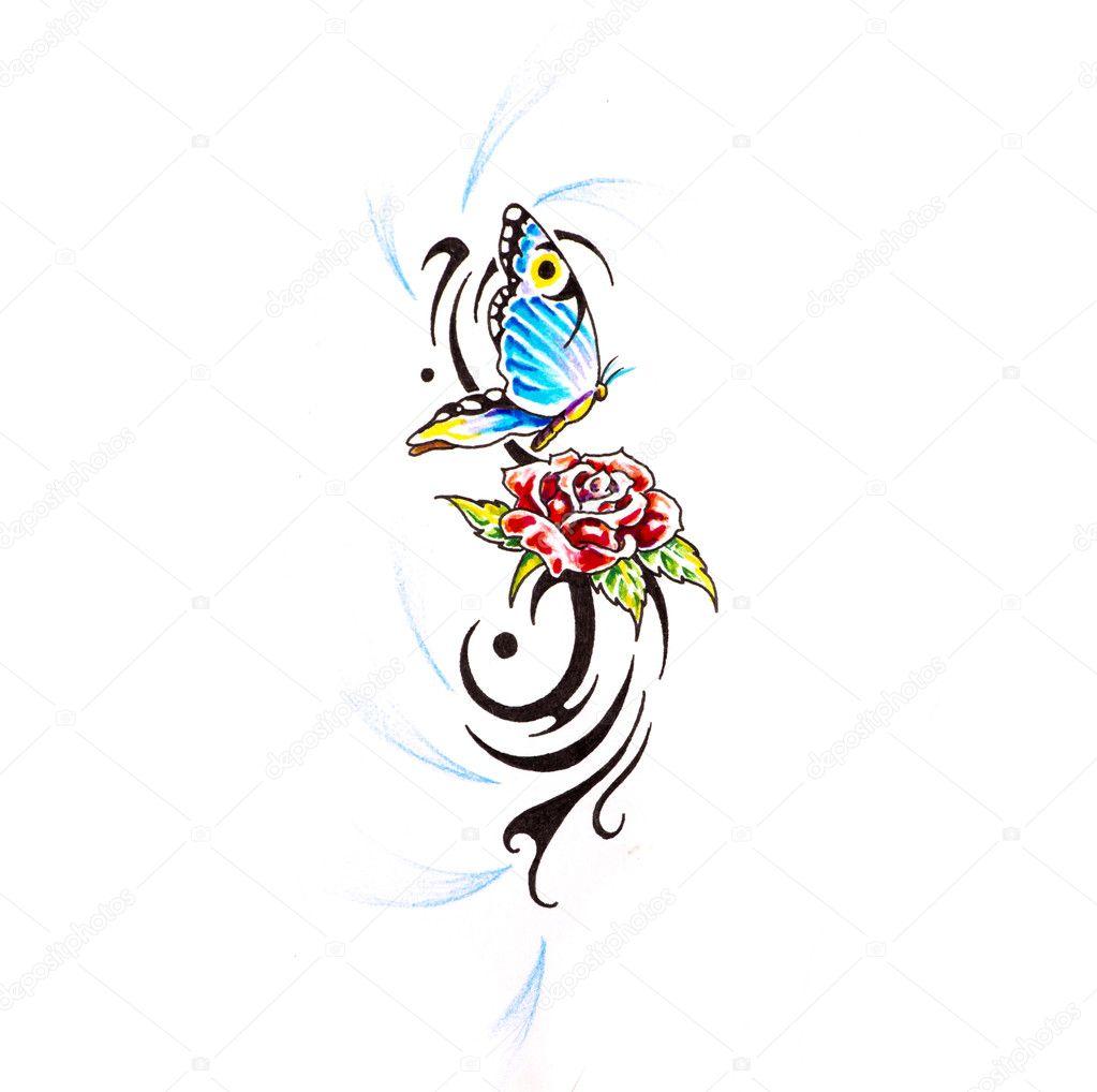 Szkic Sztuka Tatuaż Motyl Z Różą Zdjęcie Stockowe