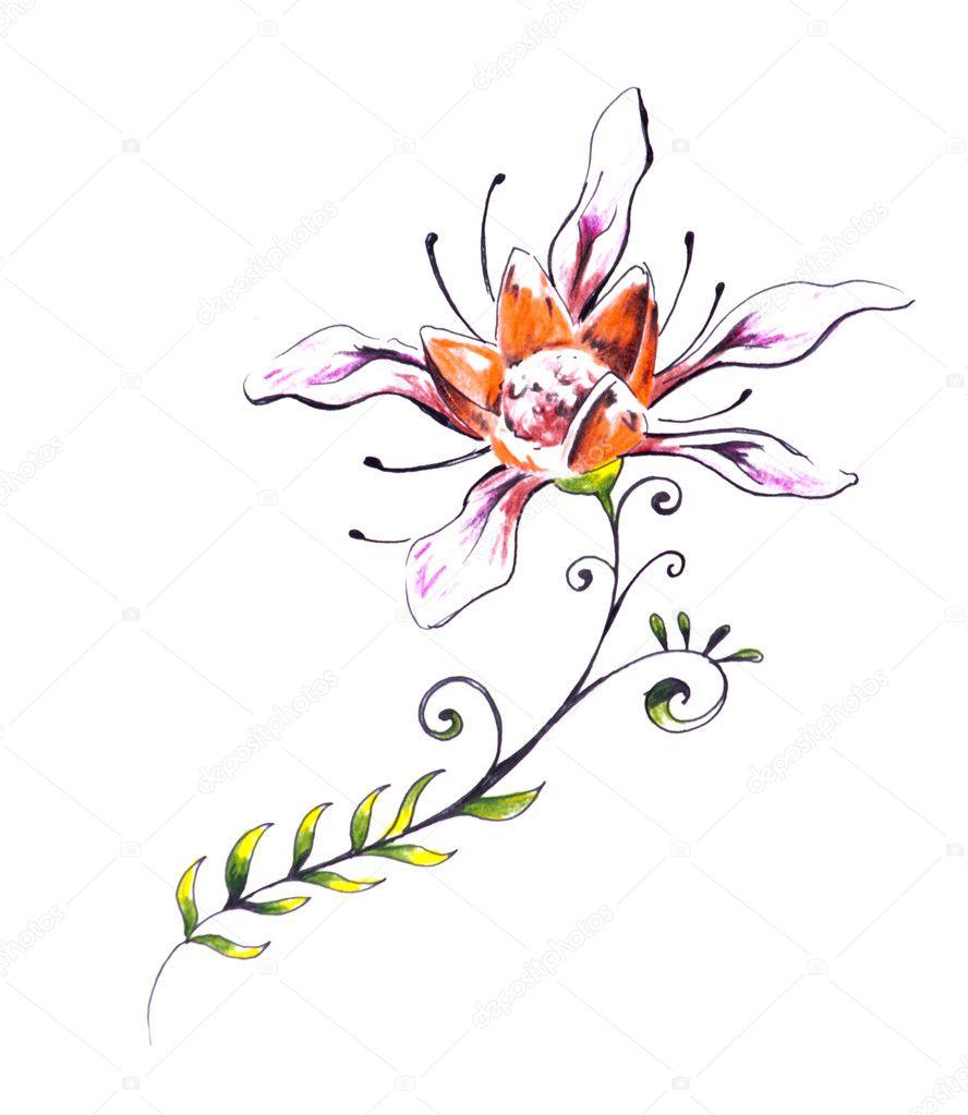 Boceto Tatuaje Flores Boceto Del Arte Del Tatuaje Flor Con Diseño
