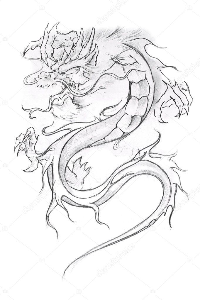 Dragon medieval para colorear | arte del tatuaje, dibujo de un ...