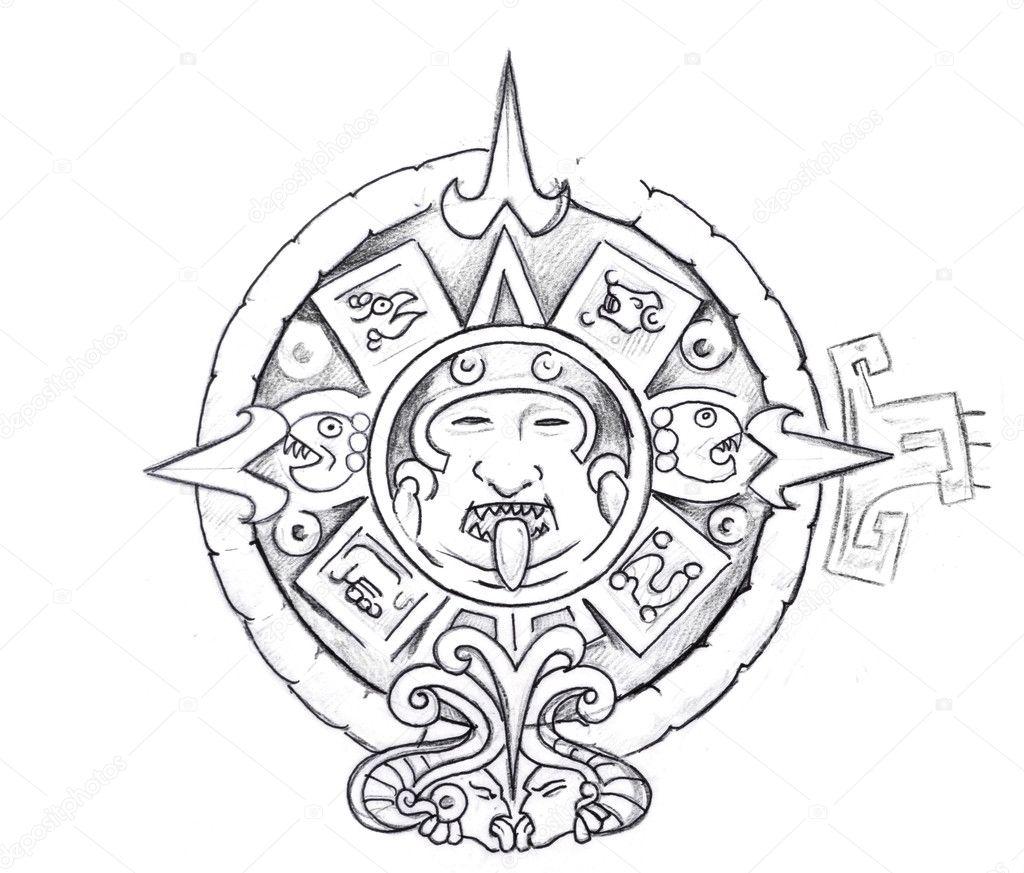 Imágenes Sol Azteca Dibujo Arte Del Tatuaje Dibujo De Un Sol