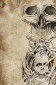 Gonosz formatervezési minta tetoválást antik könyv