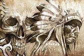 Amerikai indián törzsi vezető harcos koponya tetoválás vázlat