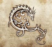 Fotografia schizzo dellarte del tatuaggio, drago decorativo