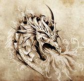 Vázlat a tetoválás művészet, harag fehér tűz sárkány
