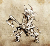 Photo Sketch of tattoo art, funny little warrior with big axe