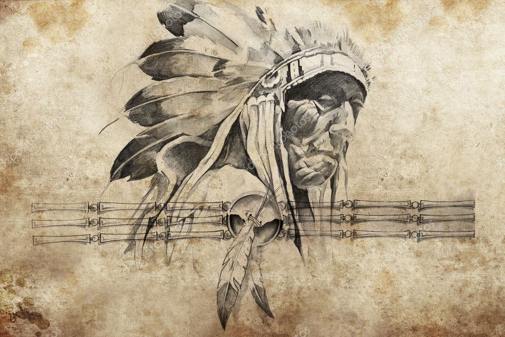 Tattoo Sketch Of American Indian Tribal Chief Warriors Stock