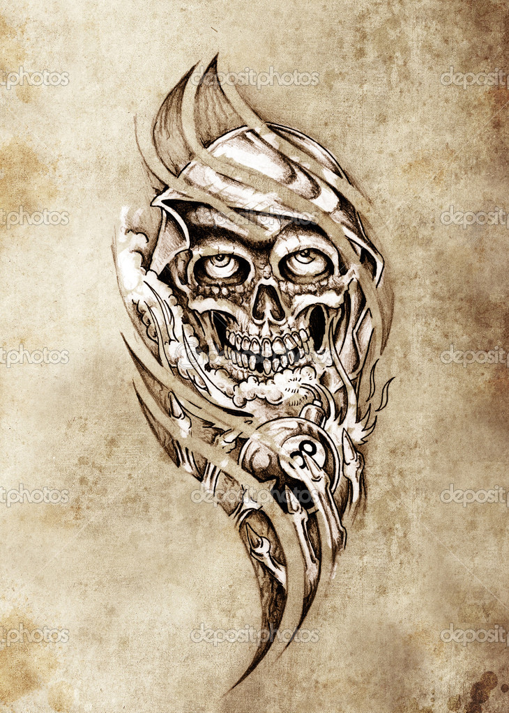 Tattoo Stock Photos: Sketch Of Tattoo Art, Monster With Eight Ball