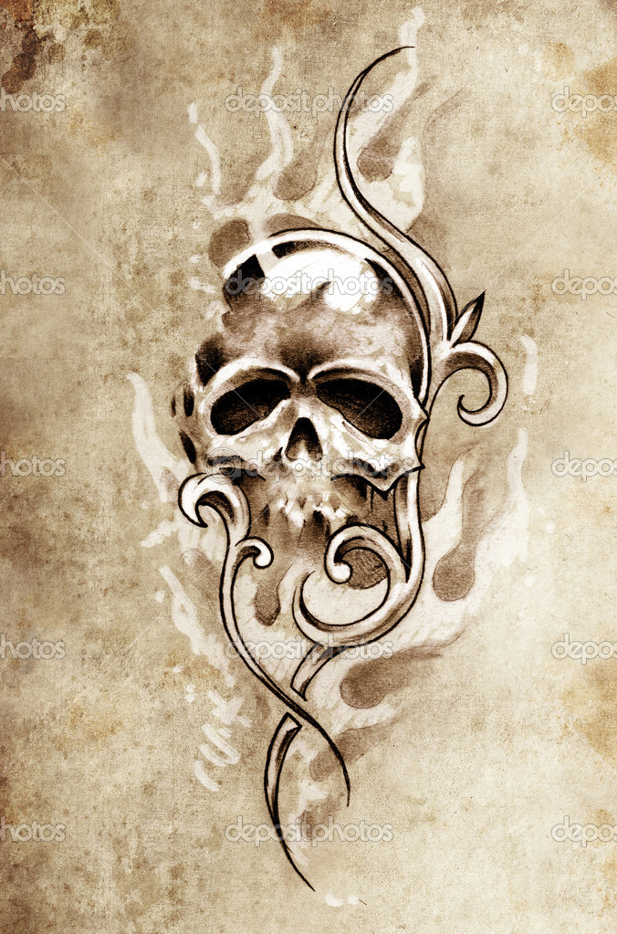 Szkic Sztuka Tatuaż Czaszka Diabeł Ozdobny Wzór Illustrati