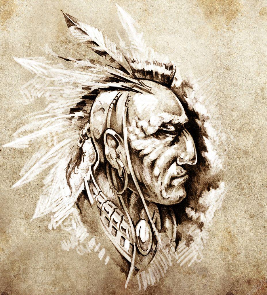 Skizze Der Tattoo Kunst Indianische Hauptling Abbildung Stockfoto