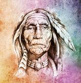 Vázlat a tetoválás művészet, Amerikai indián feje fölött s portréja