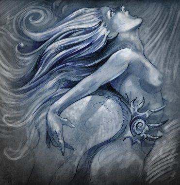 Nude mermaid illustration in blue colors with shine effects