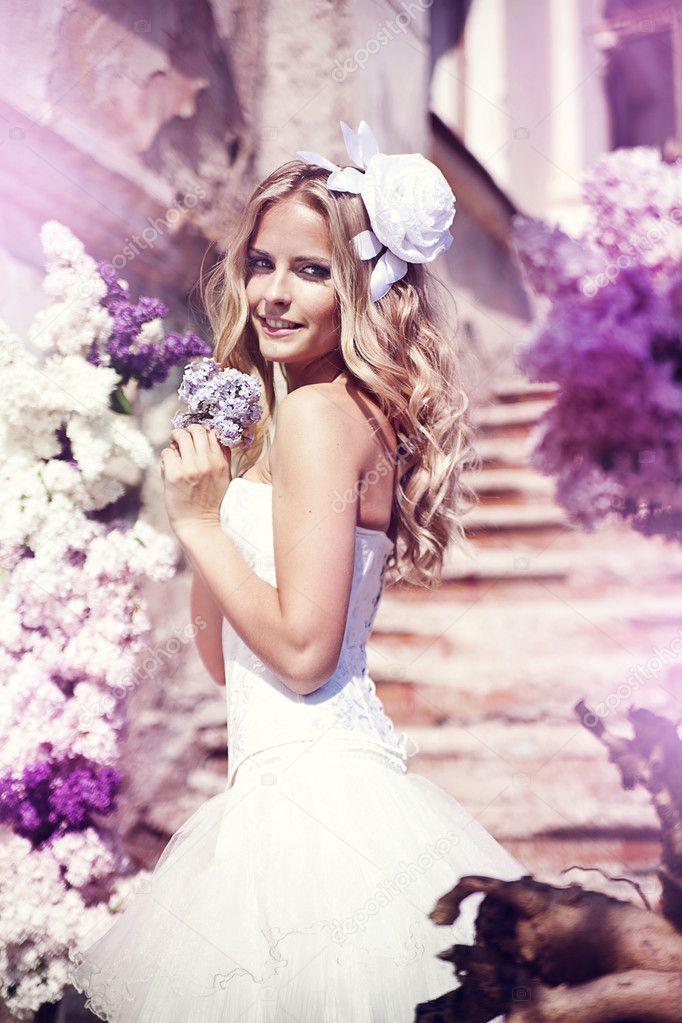 Beautiful bride in a lavender garden