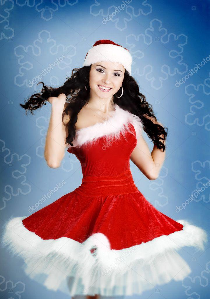 Imágenes Traje De Santa Claus Retrato De Niña Feliz
