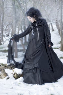 Beautiful gothic girl in the snow
