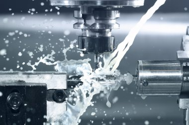 Close up of CNC machine at work stock vector