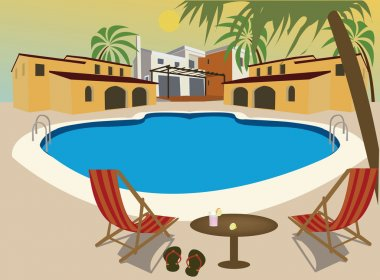Relax in a vacancy complex at swimming pool
