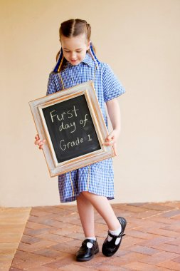 A girl on the first day of school
