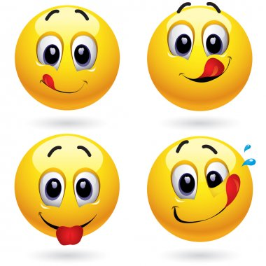 Smiley balls in temptation of tasting sweets stock vector