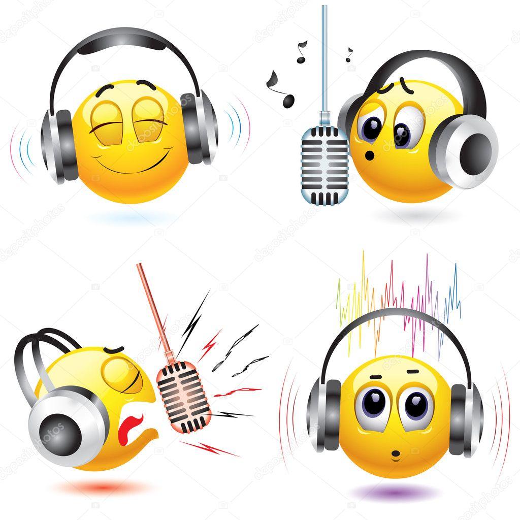 Vecteurs Pour Emoticone Ecoute Illustrations Libres De Droits Pour Emoticone Ecoute Depositphotos